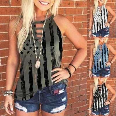 Fashion Stripe Round neck Sleeveless T-Shirts