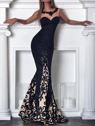 Sexy long black lace off shoulder long evening dresses