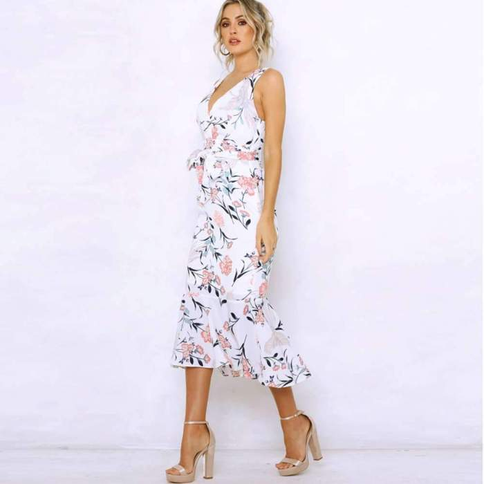 Fashion Sexy Print  Falbala Bodycon Dresses