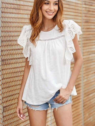 Fashion Lace Falbala Cotton T-Shirts