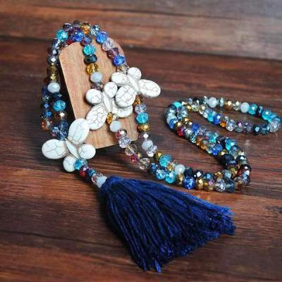 Vintage Casual Crystal Tassel Turquoise Necklaces for Women