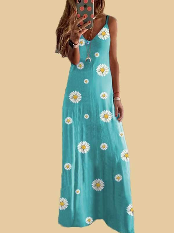 Small Daisy print slim strap long vacation dresses