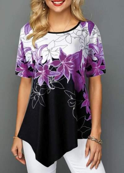 Casual Irregular Print Round neck Short sleeve T-Shirts