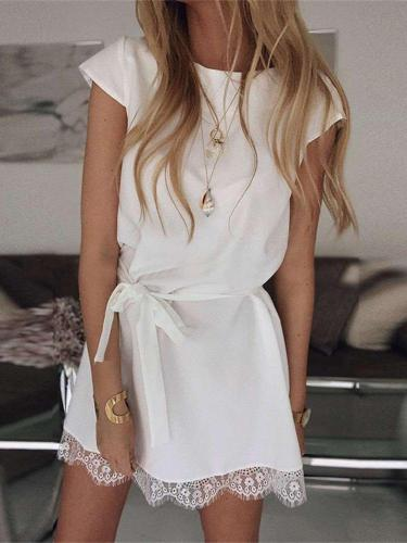 Fashion Round neck Lace Short sleeve Shift Dresses