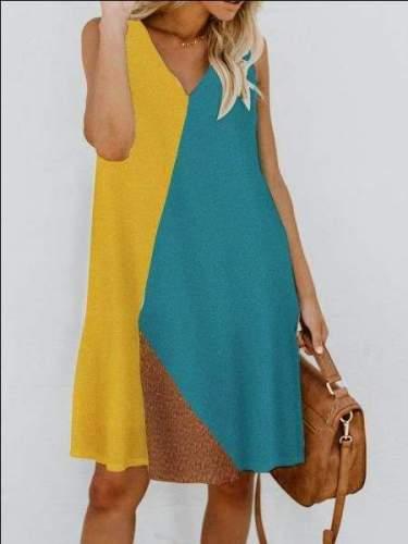 Fashion Casual V neck Gored Sleeveless Shift Dresses
