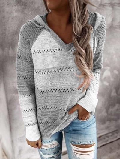 Fashion Stipe Hollow out Gored Long sleeve V neck Hoodies Sweatshirts