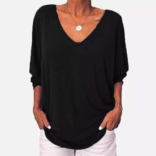 Fashion Casual Pure V neck Fastener T-Shirts