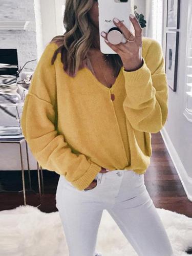 V Neck Long Sleeve Woman Sweater