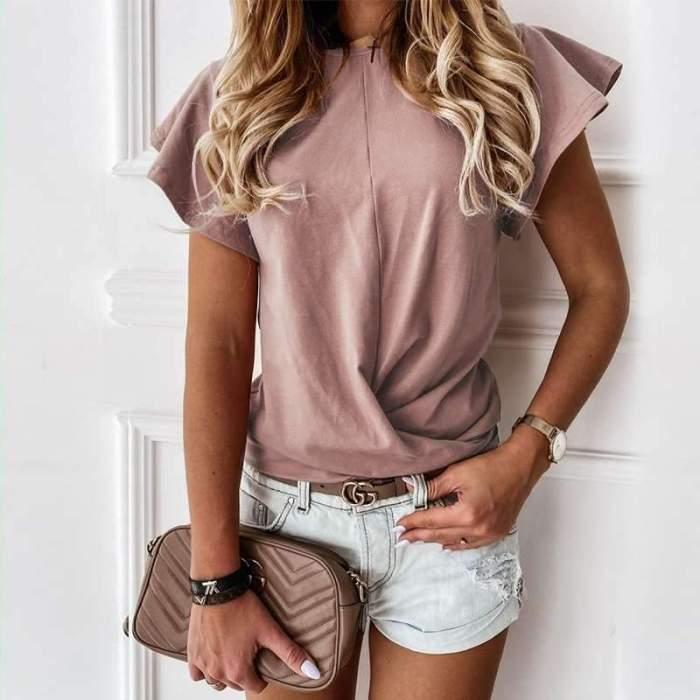 Fashion Casual Pure Round neck Short sleeve Falbala T-Shirts