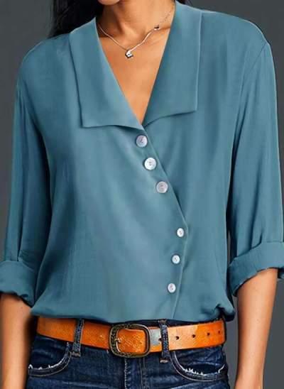 Fashion Pure Lapel Long sleeve Fastener Irregular Blouses