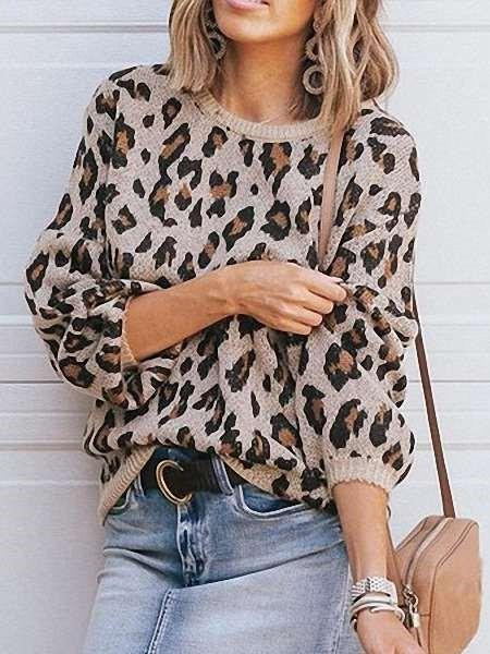 Loose Knit Leopard print Round neck Long sleeve Sweaters