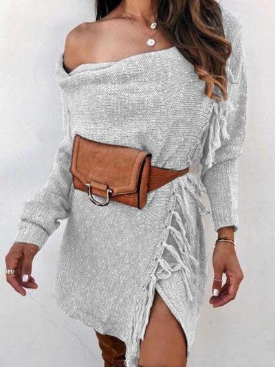Fashion Off shoulder Long sleeve Macrame Sweaters