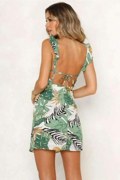Fashion Leaf Print Vest Shift Dresses