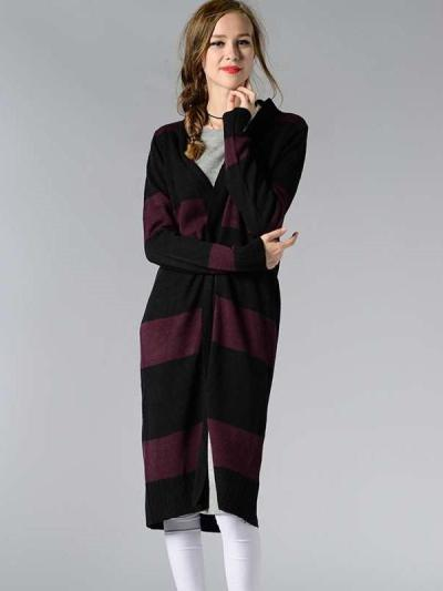Fashion Stripe Knit Long sleeve Cardigan