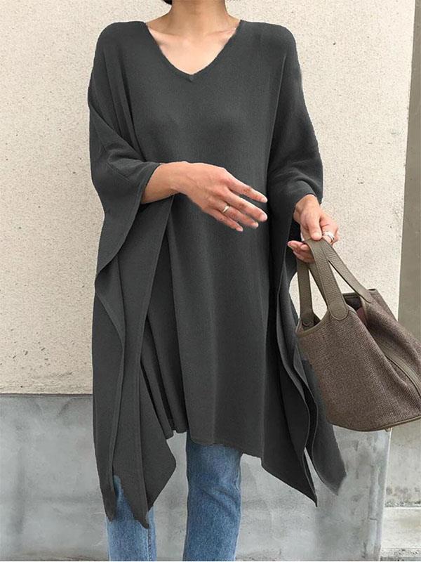 V neck stylish long sleeve irregular hem women T-shirts