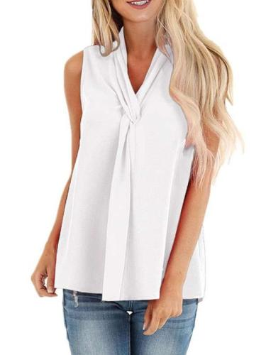 Casual Pure V neck Tie Sleeveless Blouses