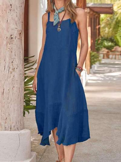 Casual Pure Gored Vest One shoulder Maxi Dresses