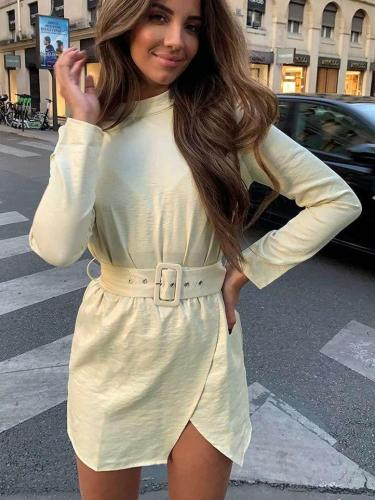 Fashion Pure Round neck Long sleeve Irregular Belt Shift Dresses
