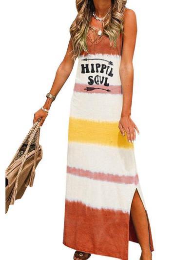 Sleeveless v-neck casual a-line printed strap Maxi Dresses