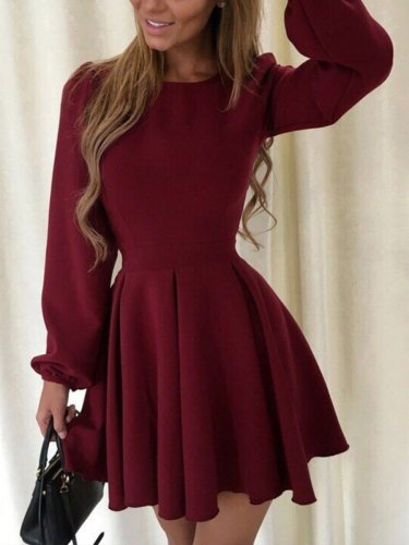 Autumn Long Sleeve Puff Sleeve Skater Dress