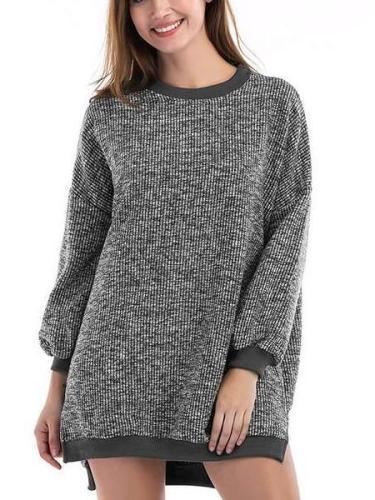 Fashion Round neck Long sleeve Irregular Sweaters