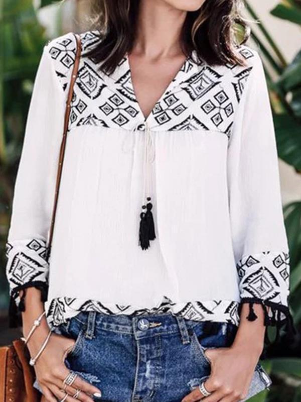 Women casual v neck long sleeve blouses