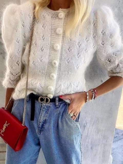 Fashion Hollow out Knit Pure Cardigan