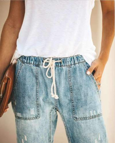 Fashion Casual Lacing Jean Pants