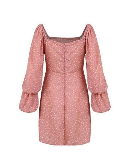 Sweet long sleeve polka dot printed women vacation dresses