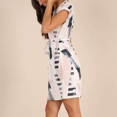 Fashion Print Round neck Short sleeve Lacing Shift Dresses