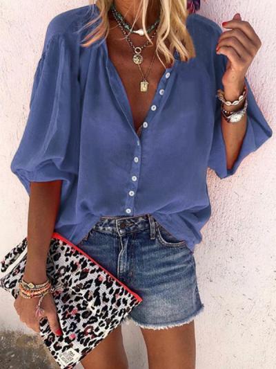 Plain long sleeve v-neck button women Blouses