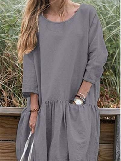 Casual Loose Round neck Gored  Falbala Shift Dresses