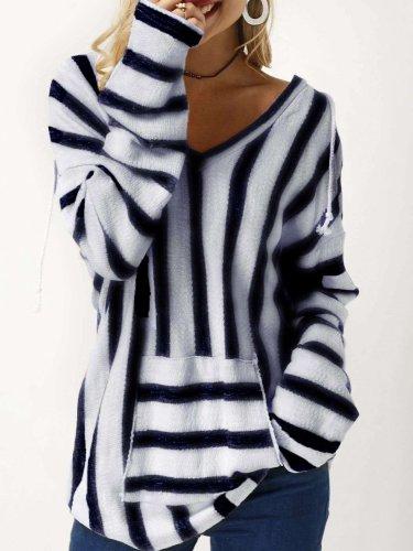 Fashion Plush Stripe V neck Long sleeve Pocket Sweatshirts