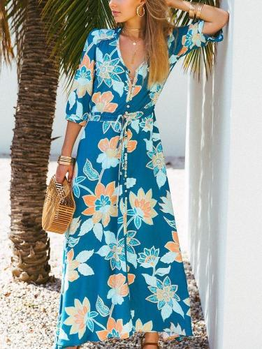 Floral Three quarter sleeve V neck Maxi Dresses
