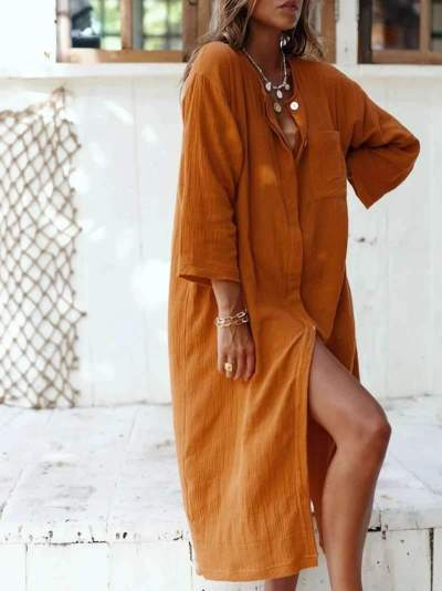 Casual Loose Pure Fastener Long sleeve Round neck Maxi Dresses