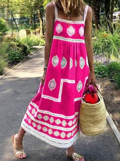 Bohemian loose casual large size sleeveless maxi dresses