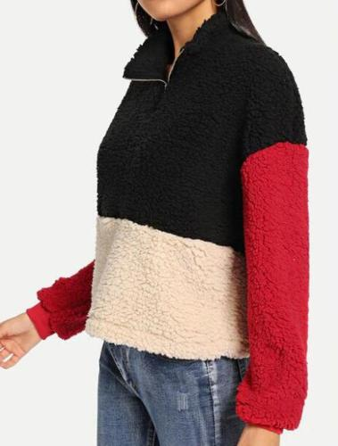 Thick Zipper Stand Collar Color Matching Plush Sweater