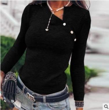 Fashion Pure Oblique V neck Long sleeve Knit T-Shirts