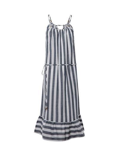 Striped patchwork belt neck women's vacation dresses