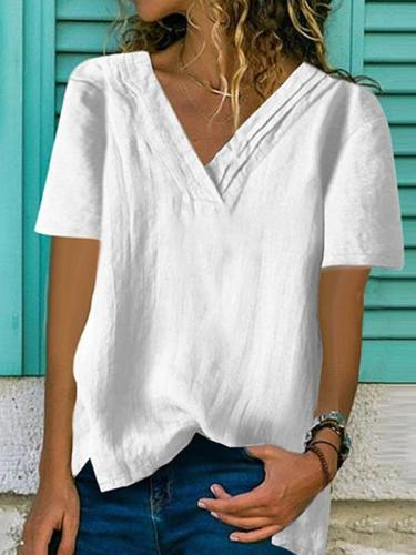 Large v-neck hem split cotton and linen multi-layer collar Loose T-shirts