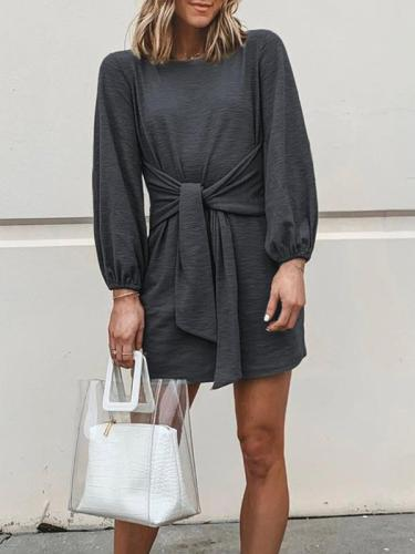 Chic round neck long sleeve plain tie-waist skater dresses