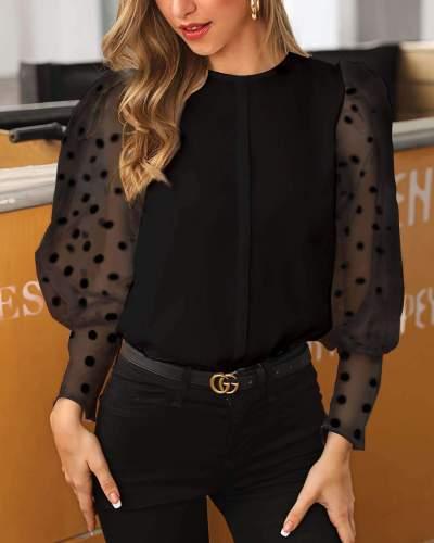Fashion Elegant Lace Gored Long sleeve Point Blouses