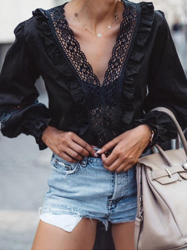 Women fashion v neck lace decoration long sleeve blouses