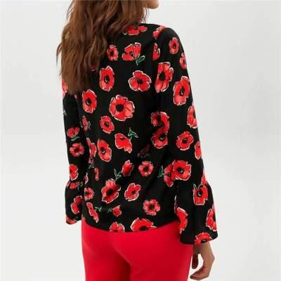 Fashion Print Round neck Long sleeve Blouses