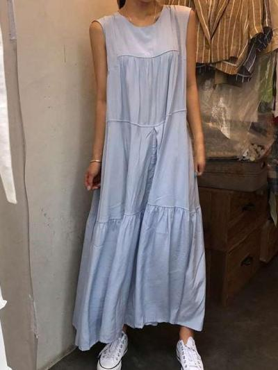 Casual Pure Gored Round neck Sleeveless Maxi Dresses