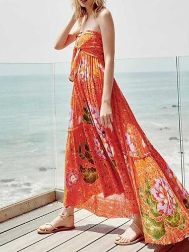 Fashion V neck Floral Vent Maxi Dresses