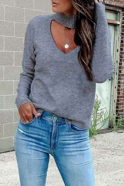 Casual Pure Long sleeve V neck Sweaters