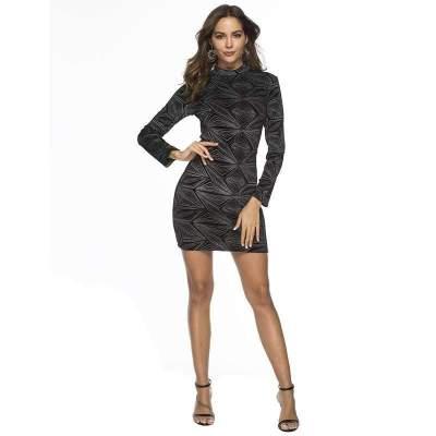 Sexy Pleuche Gored Long sleeve High collar Bodycon Dresses
