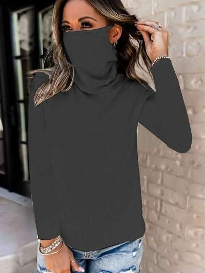 High neck women long sleeve plain top with mask fashion sweaters