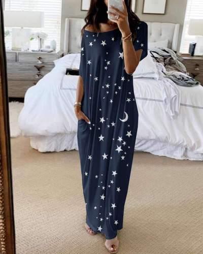 Fashion Casual Round neck Print Short sleeve Maxi Dresses